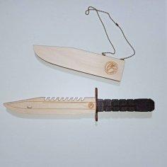 Laser Cut Wooden Bayonet Knife Free Vector