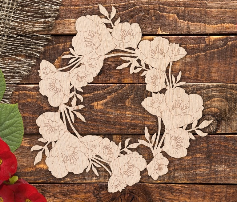 Laser Cut Engrave Floral Wreath Free Vector