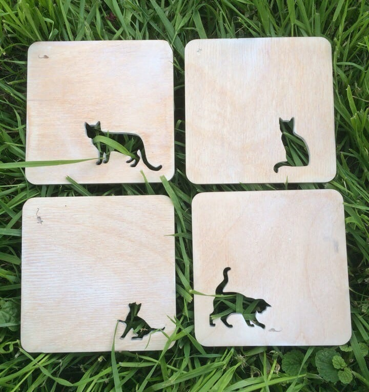 Laser Cut Wooden Cat Coasters DXF File