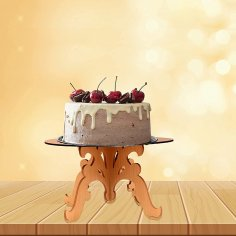 Laser Cut Wooden Decor Cake Stand Free Vector