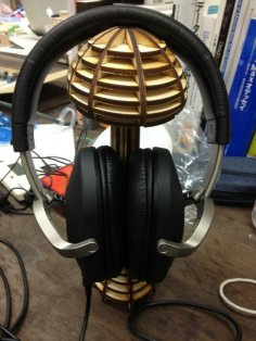 Laser Cut Mushroom Shaped Headphone Stand w120xd90xh250mm Free Vector