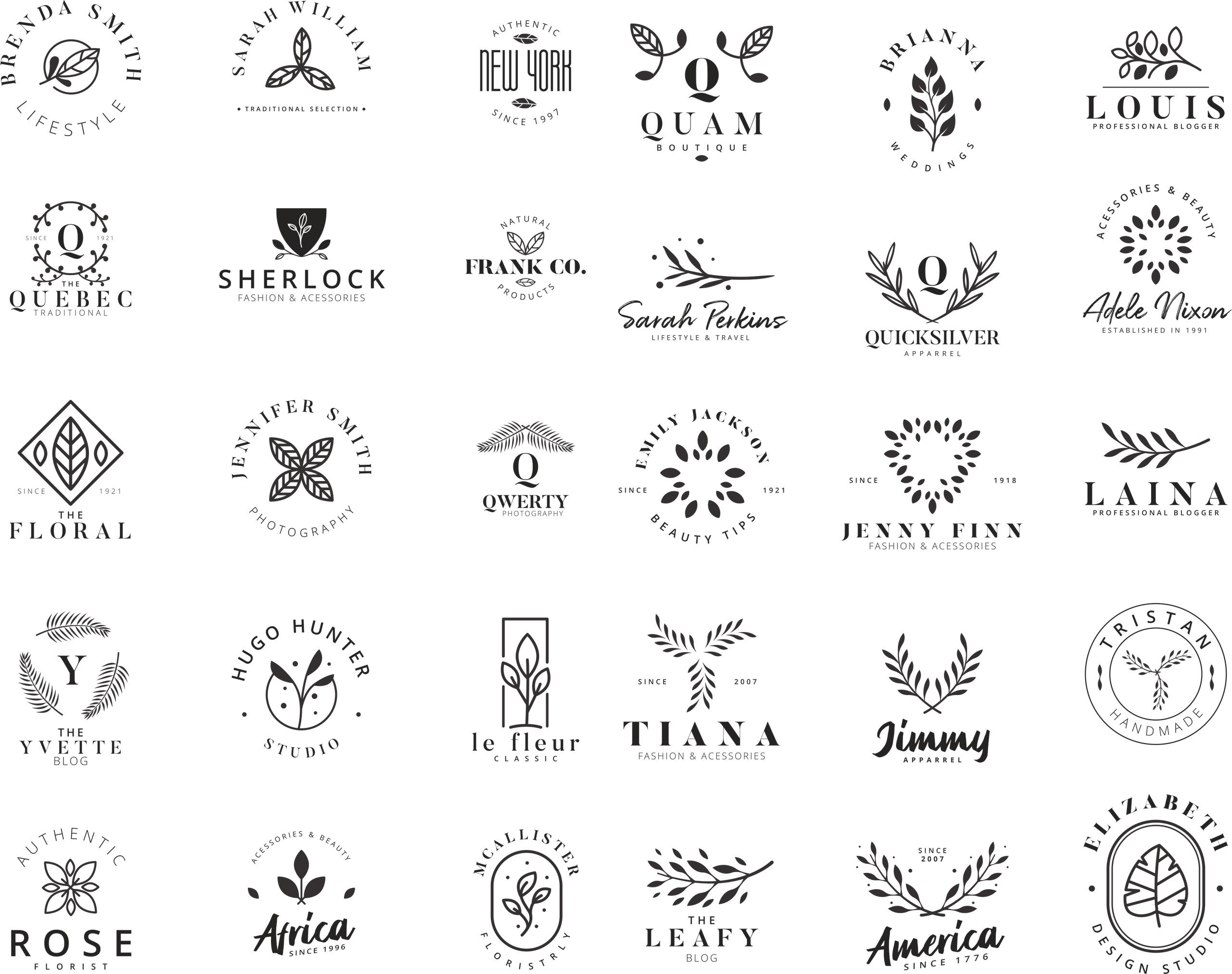 Premade Floral Logo Free Vector