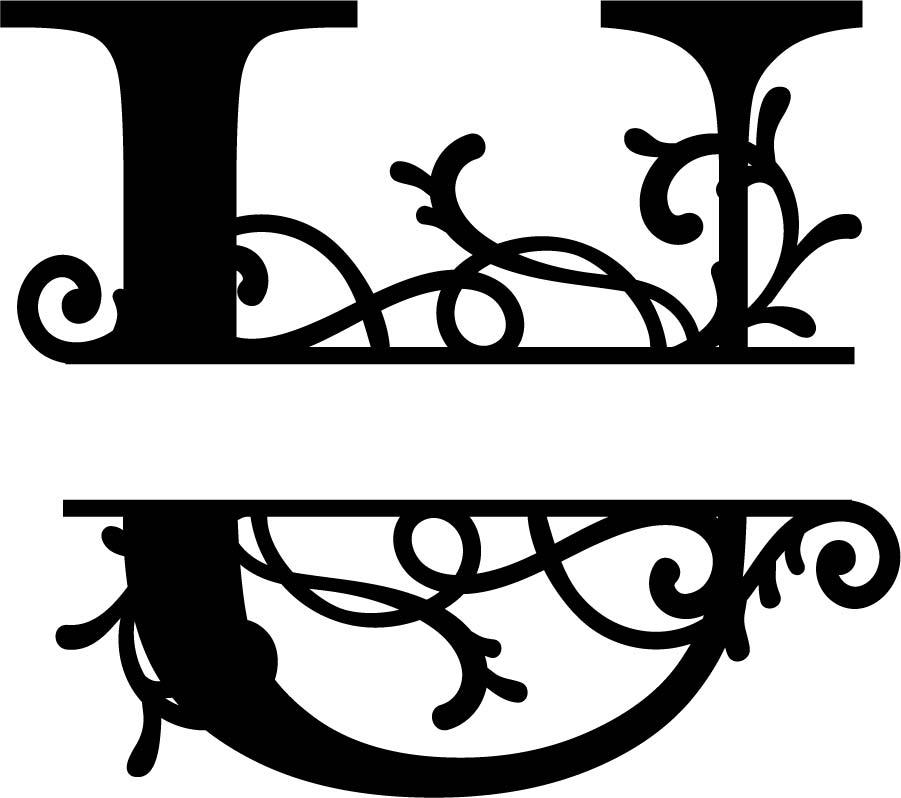 Split Monogram Letter U DXF File