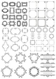 Seamless Frame Decor Set Free Vector