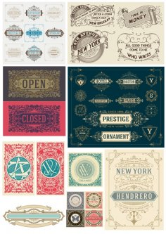 Retro Vintage Decor Elements Free Vector