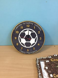 Laser Cut Football Wall Clock Free Vector