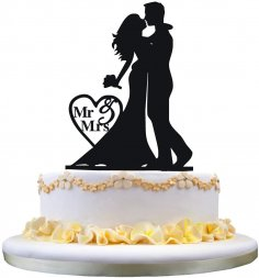 Laser Cut Bride And Groom Cake Topper For Wedding Free Vector