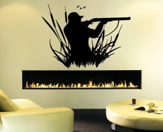 Laser Cut Engrave Duck Hunting Wall Art Decal DXF File