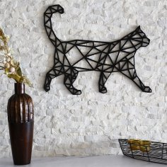 Laser Cut Cat Wall Decor Geometric Pattern Free Vector
