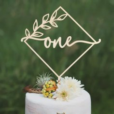 Laser Cut First Birthday Cake Topper Free Vector