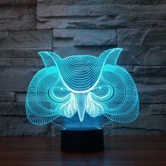 Laser Cut Owl 3D Illusion Desk Lamp Acrylic Night Light Free Vector