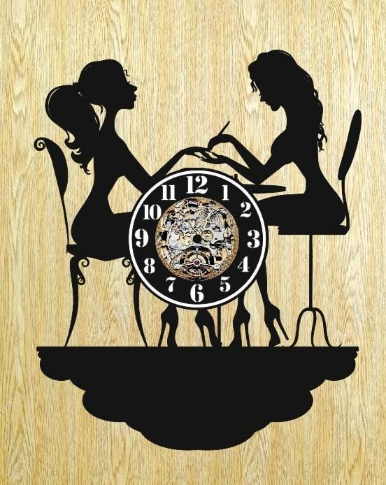 Laser Cut Nail Salon Beauty Shop Vinyl Record Wall Clock Free Vector