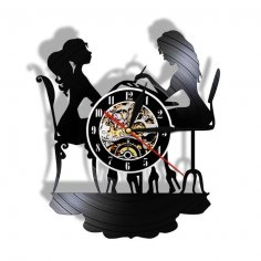 Laser Cut Nail Salon Beauty Shop Vinyl Record Wall Clock Free Vector