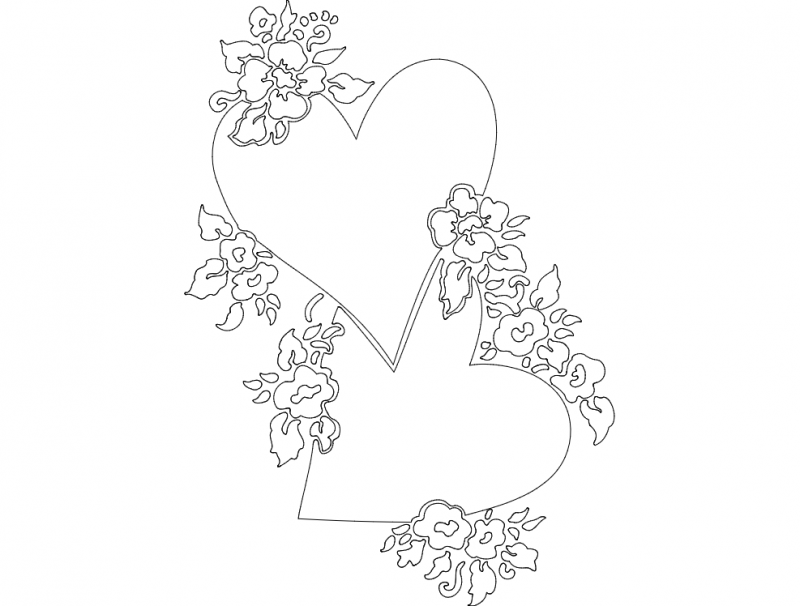 Heart and Flowers dxf File