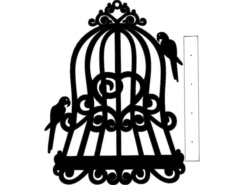 Kafes kuş anahtarlık dxf File